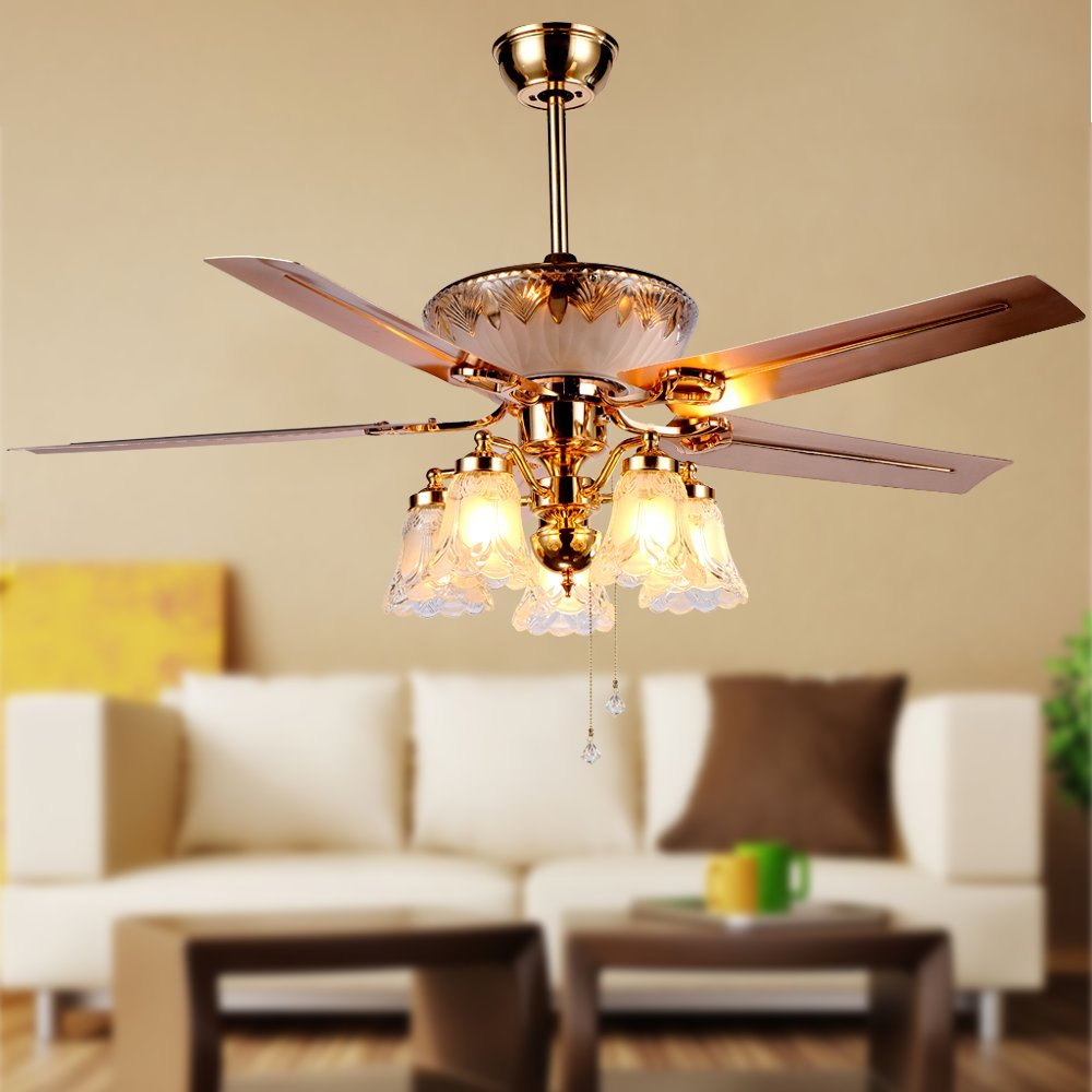 Modern Crystal Ceiling Fan Remote Control 5 Reversible Blades
