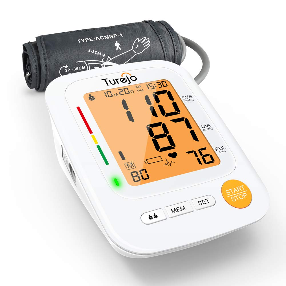 Blood Pressure Monitor for Upper Arm – Turejo Accurate Digital Automatic BP Monitor for Home Use with Large Display and Portable Cuff, Monitoring high blood pressure and Irregular Heartbeat