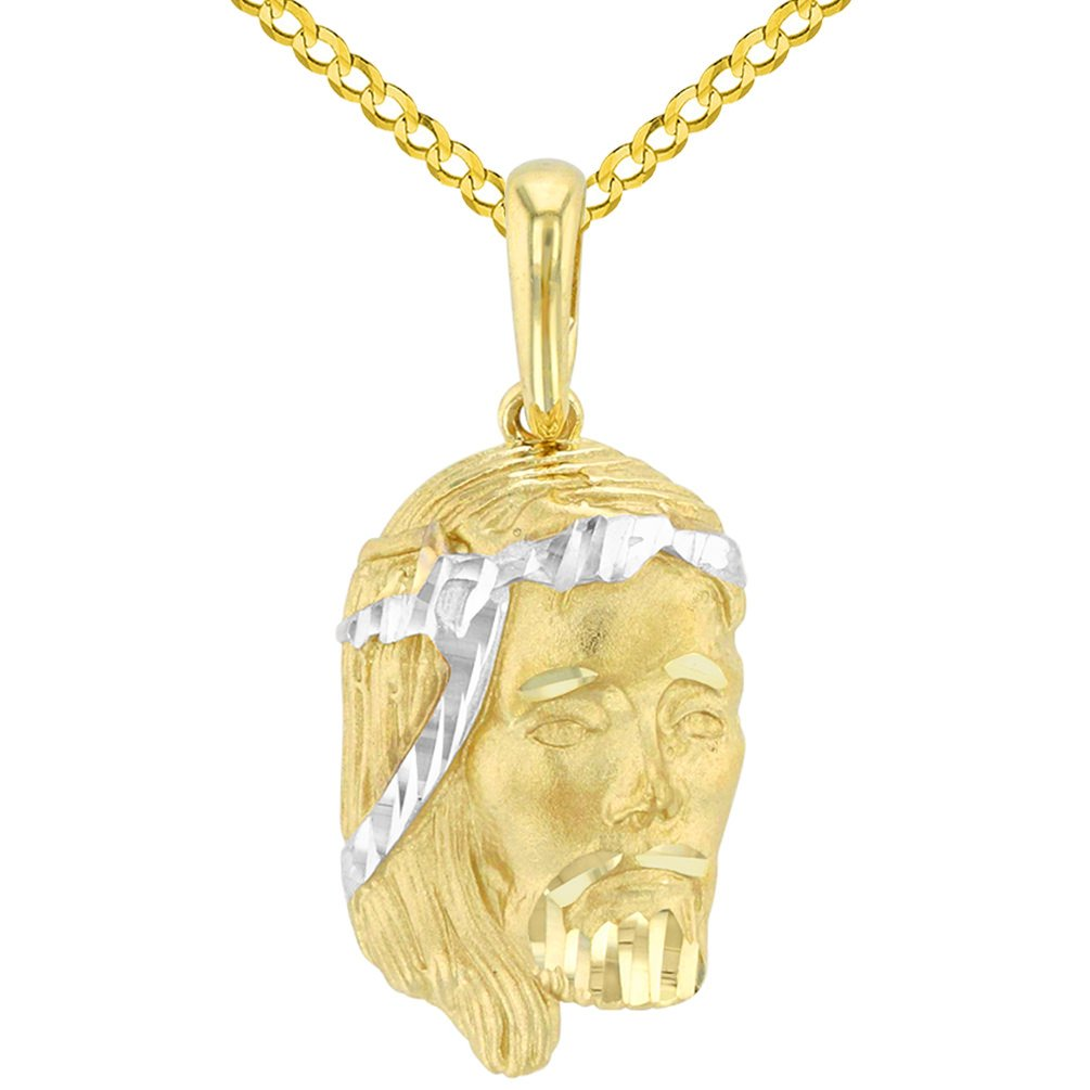 14K Yellow Gold Textured Face of Jesus Christ Pendant with Cuban Chain Necklace, 24''