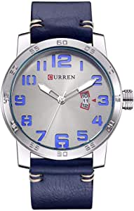 Curren Brand Quartz Men Watch Leather Strap Waterproof Sport Watch Blue 8254