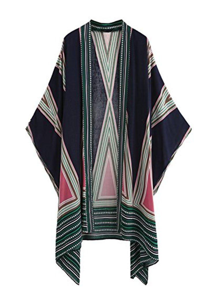 HAXICO Women Kimono Vintage Floral Cardigan Capes Casual Beach Cover up Kimono Coats Outwear