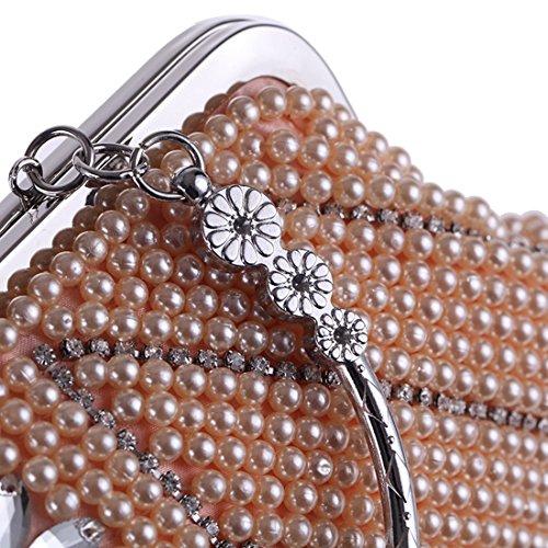 Bag Clutch Fashion Handbag Purse Champagne Evening Pearl Party Women's Bag Handle JESSIEKERVIN Bag 58qPwP