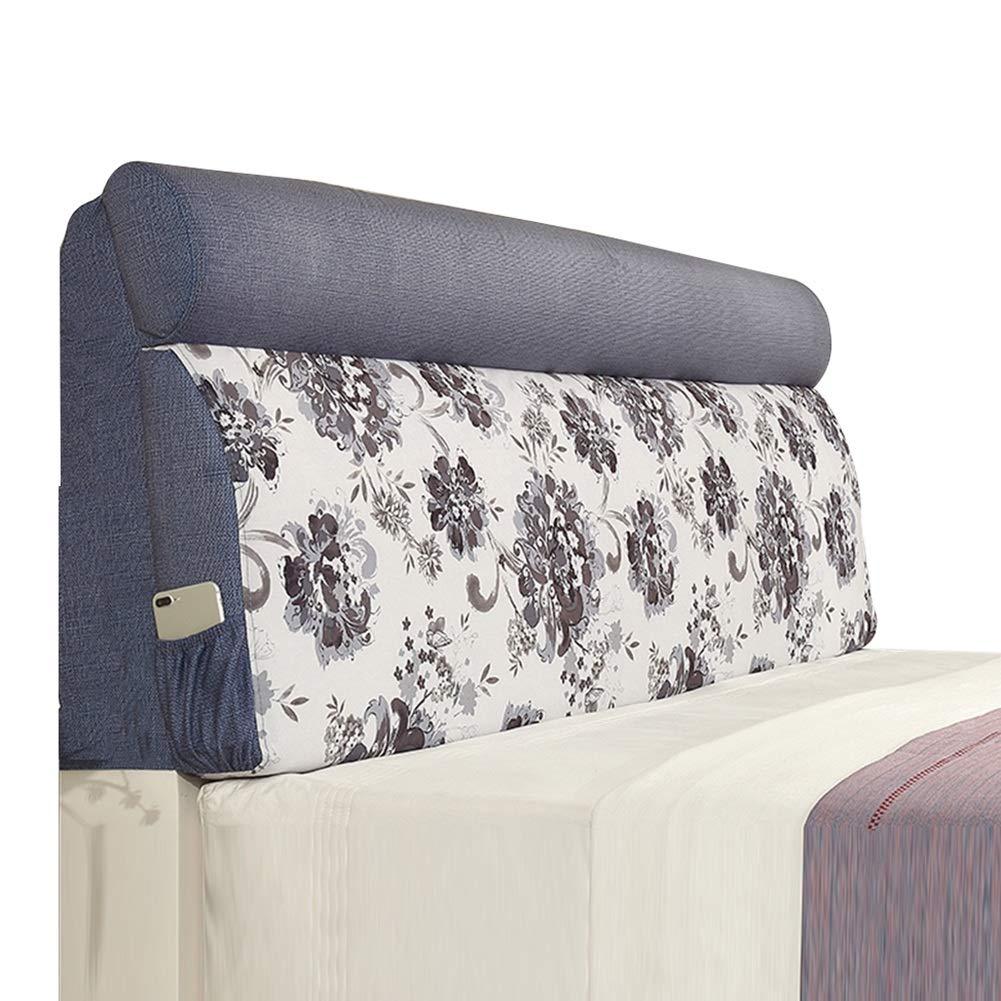 KKCF ヘッドボードクッション肌にやさしい耐摩耗性ソフトケース洗える寝室極細繊維 、3色 、8サイズ (色 : 青, サイズ さいず : Length 200cm) Length 200cm 青 B0128Q2UGU