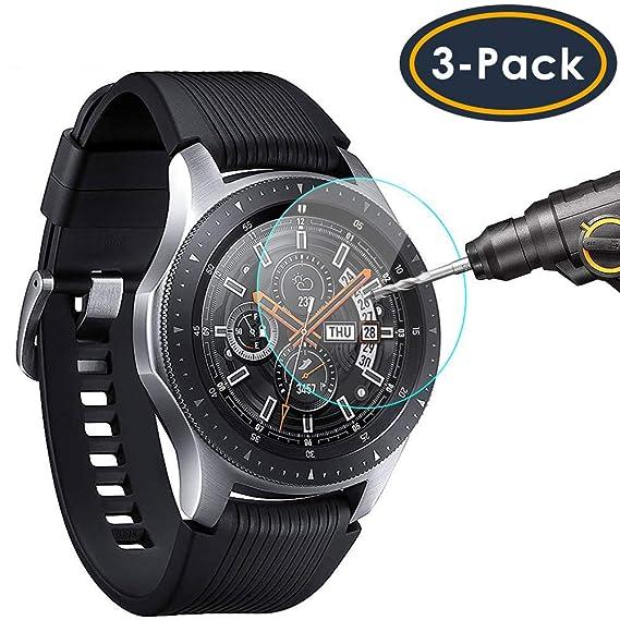 sale retailer a5d52 2bd3d QIBOX Screen Protector Compatible Samsung Galaxy Watch 46mm & Gear S3,  Waterproof Tempered Glass Screen Protector Compatible Samsung Gear S3 &  Galaxy ...