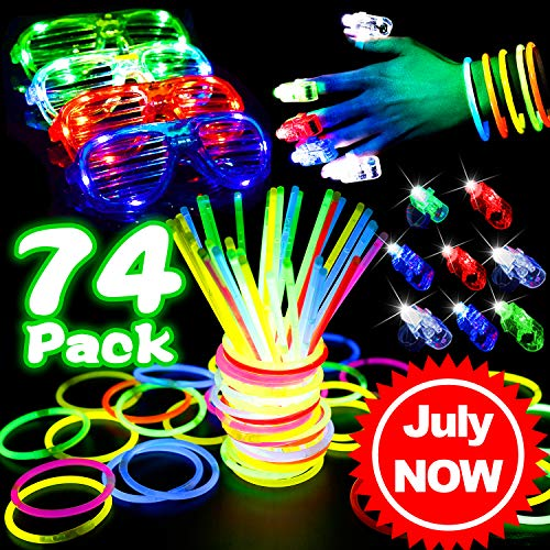 74 Pcs Party LED Light Up Toys, Bulk Glow in The Dark Party Supplies Prizes Box Toys for Classroom with Glow Sticks Glow Bracelet Necklaces, Bright Finger Light,Neon Flashing Glasses for Kids Adults]()