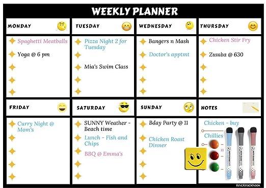 KnicKnackNook - Planificador semanal magnético para ...