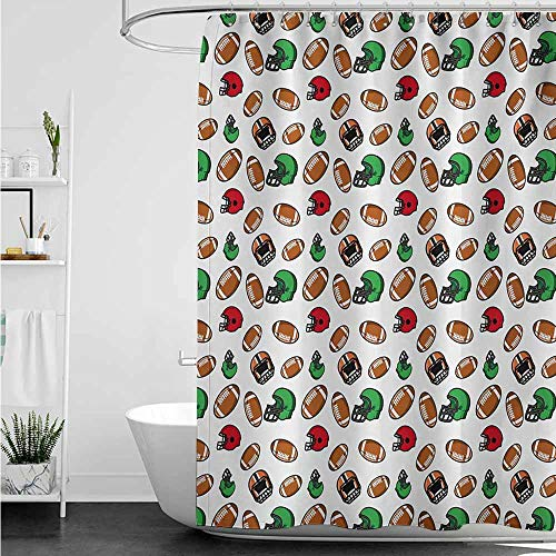 Bathroom Curtains,American Football Cartoon Style Rugby Icons Balls American Culture Competitive Game Sports,Shower Hooks are Included,W94x72L,Multicolor
