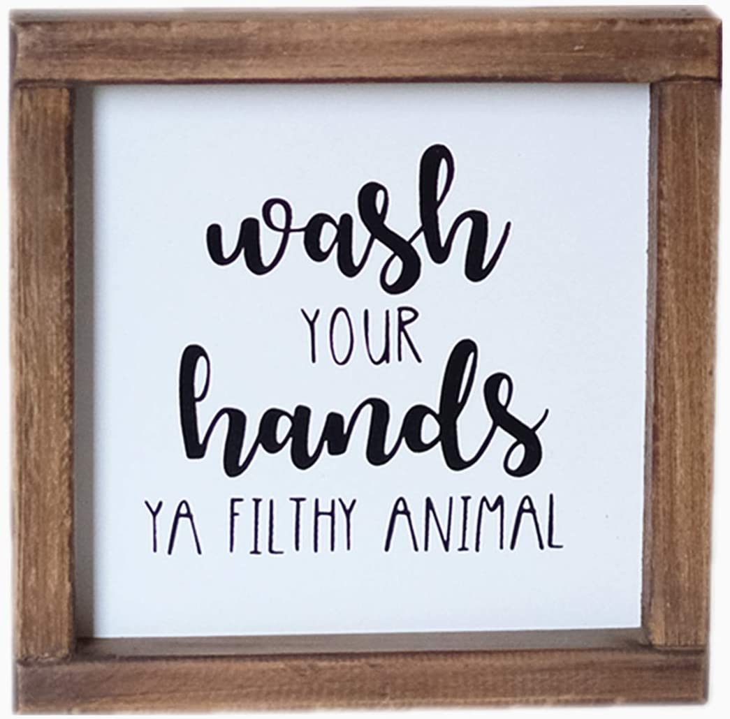 Lavender Inspired Wash Your Hands Ya Filthy Animal Sign-Funny Signs for Half Bathroom Decor-Framed Farmhouse Bathroom Wall Decor-Kids Bathroom Signs Decor-Housewarming Gift 7x7''
