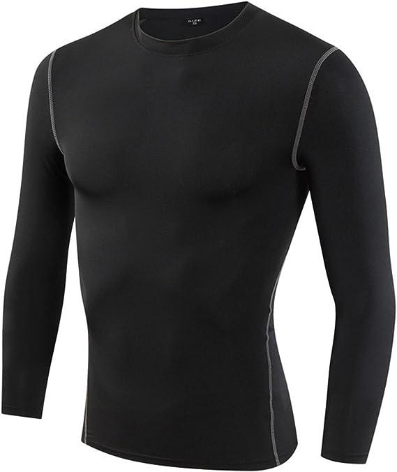 Men/'s Compression T-shirt Baselayer Dri fit Running Football Undershirt Black