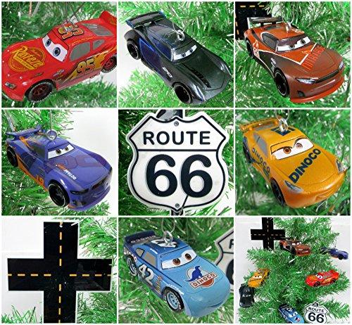 Cars 3 Christmas Tree Ornament 8 Piece Set Featuring Lightning McQueen, Cruz Ramirez and Friends