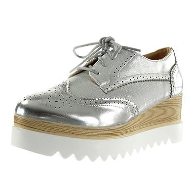 8a851fe49854f2 Angkorly - Chaussure Mode Derbies Semelle Basket Plateforme Femme Brillant  perforée Talon compensé Plateforme 6.5 CM