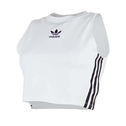 adidas Crop Camiseta, Mujer, Blanco, 32