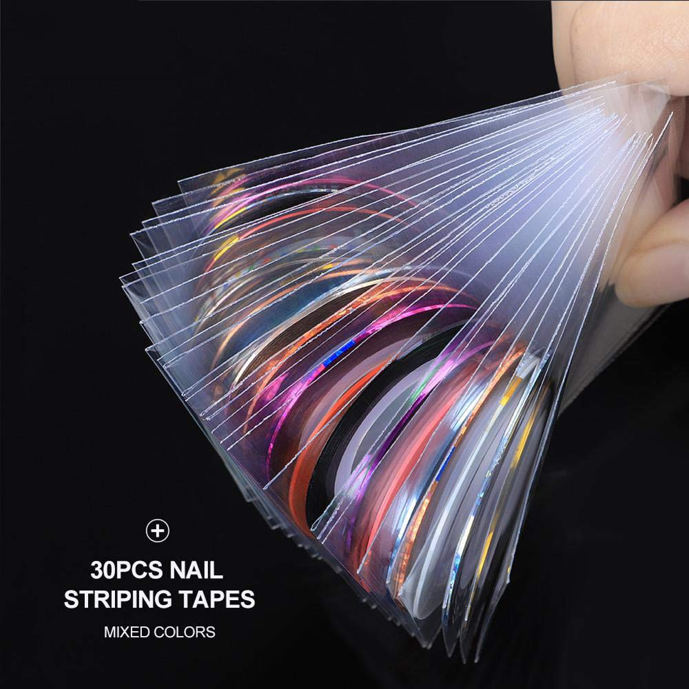 All For Nail 30 Pcs Striping Tape Line Nail Art Decoration Sticker DIY Nail Stickers Mix Color Rolls by MJQ