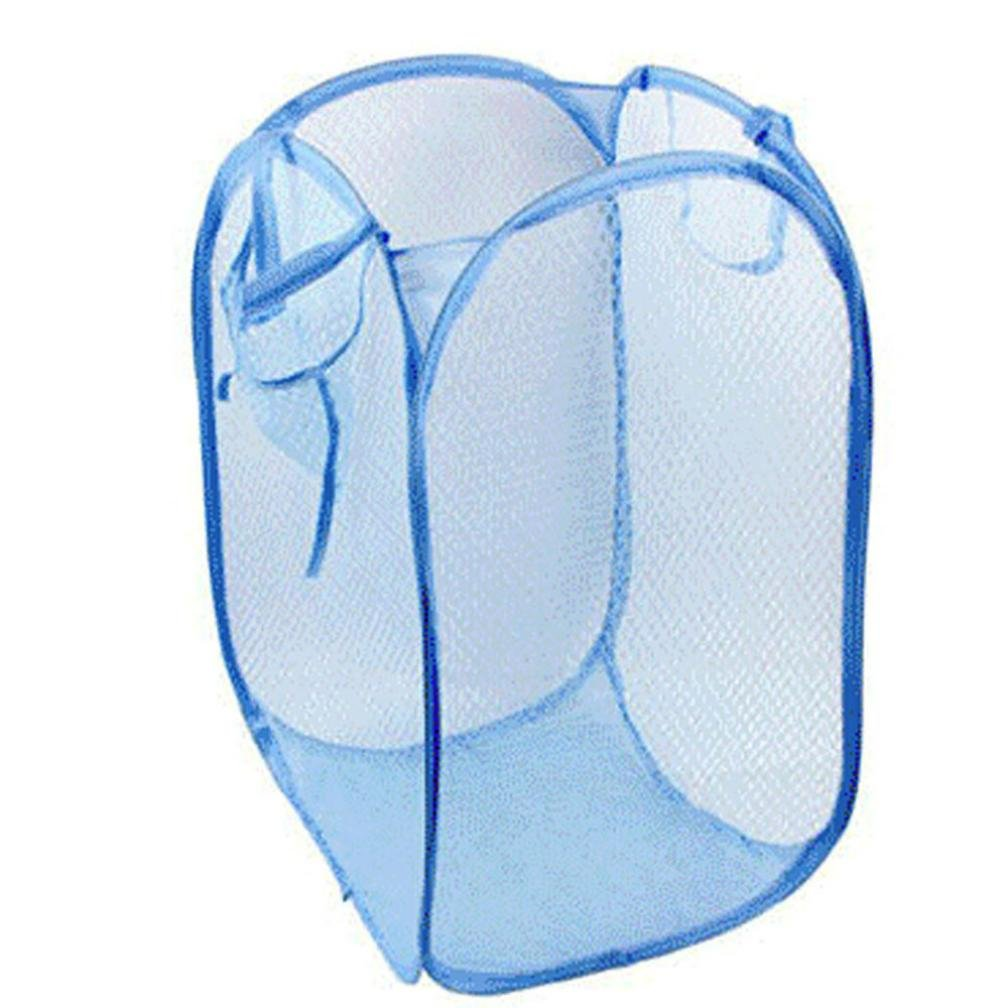 iumei Large Foldable Pop Up Washing Laundry Basket Bag Hamper Mesh Storage 404060cm (Light blue)