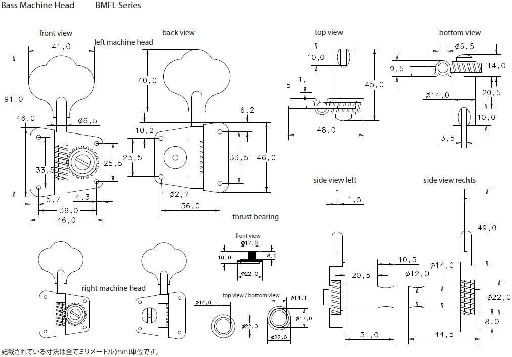 Schaller BMFLSC 547MC Bajo Elect Satin Chrome Abierto 4 izquierda Clavijero BMFL