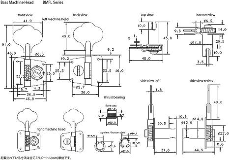 Chrome Clavijero BMFL Abierto 4 izquierda Satin Schaller BMFLSC 547MC Bajo Elect