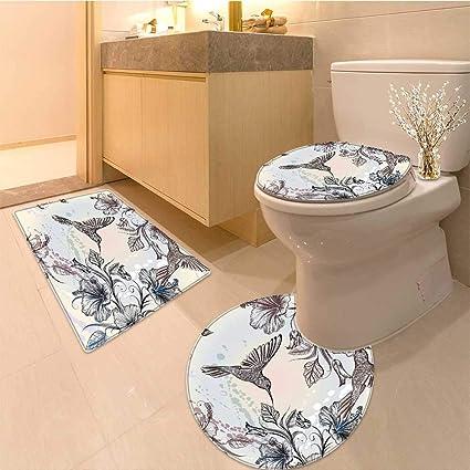 Miki Da Juego de 3 Piezas de Tapas para Inodoro con diseño de colibrí en Flores