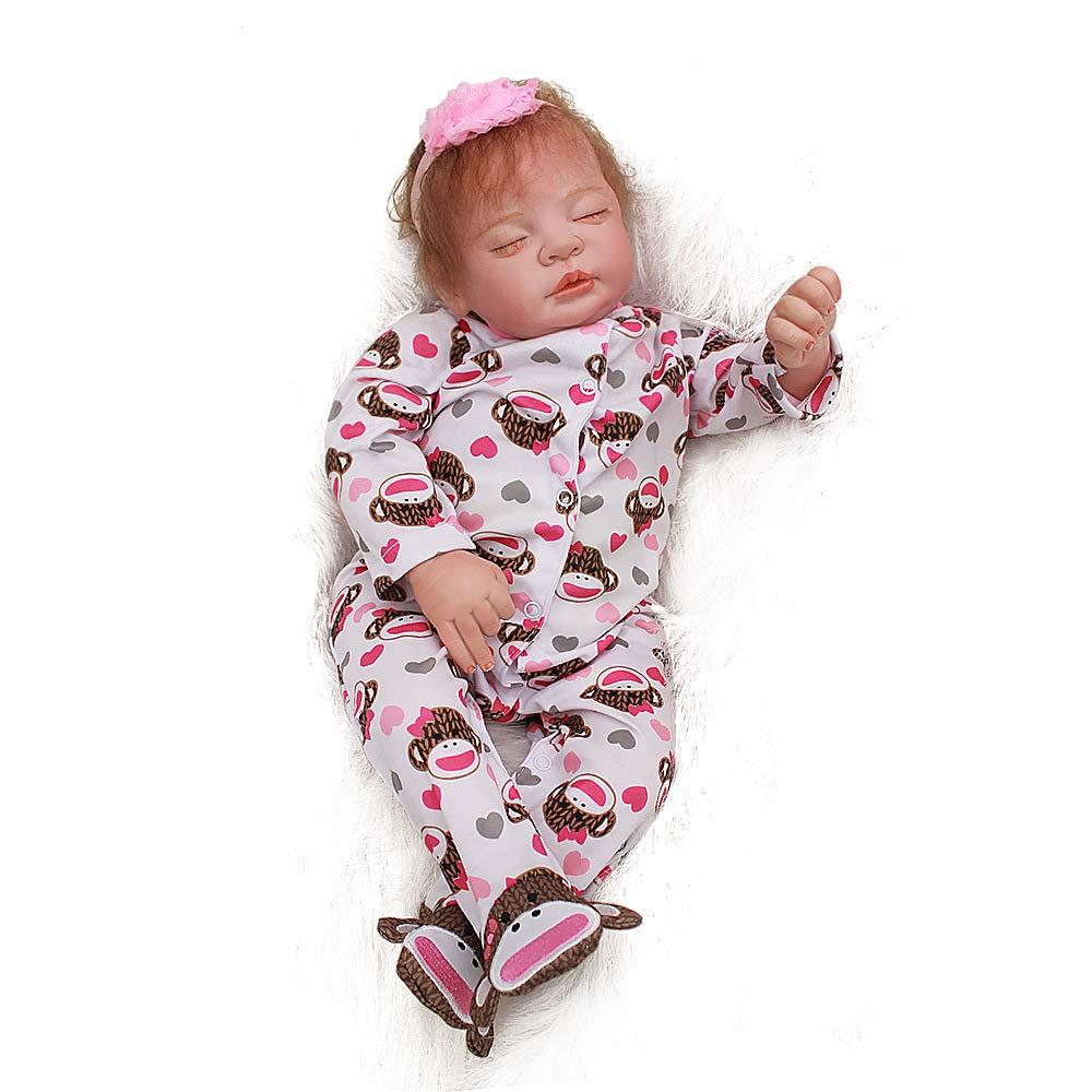 22-Fuß Babypuppe, Baby geboren Puppe realistische Babypuppe wiedergeborenes Baby Simulation Weißhem Kunststoff Silikon realistische reborn Puppe