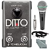 TC-Helicon Ditto Microphone Looper and Accessory Bundle w/ Samson Q6 Mic + Fibertique Cloth + 3P XLR to 6.35mm Stereo Plug Adapter + Xpix XLR Cable