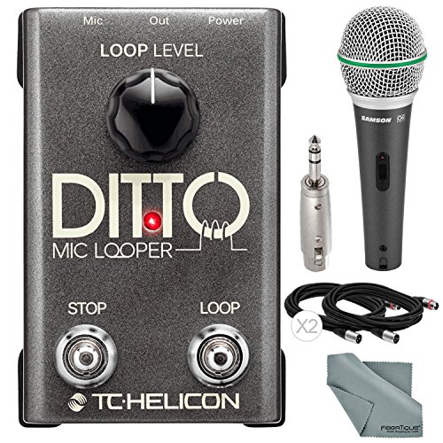 TC-Helicon Ditto Microphone Looper and Accessory Bundle w/ Samson Q6 Mic + Fibertique Cloth + 3P XLR to 6.35mm Stereo Plug Adapter + Xpix XLR Cable by Photo Savings