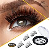 magnetic Faith Beauty Dual Magnetic Eyelashes Ultra Thin 0.25 mm 3D Fiber Reusable Best Fake Lashes For Women Makeup Natural Look (4pcs)