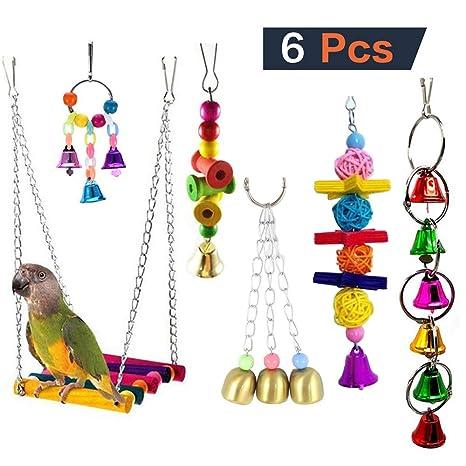 QNMM 6 unids Bird Loro Juguetes Colgando Bell Pet Jaula de Aves ...
