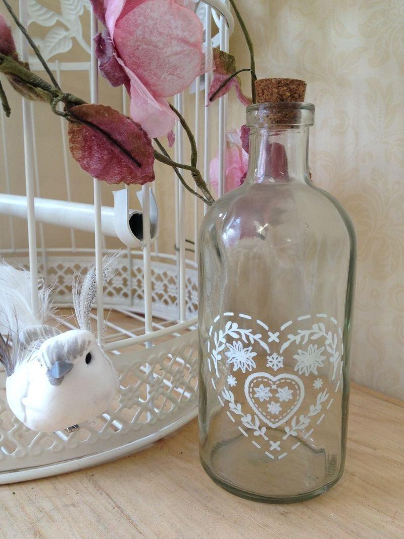 Homes on Trend Decorazione per il cuore da tavolo vintage in vetro con tappo in maiolica