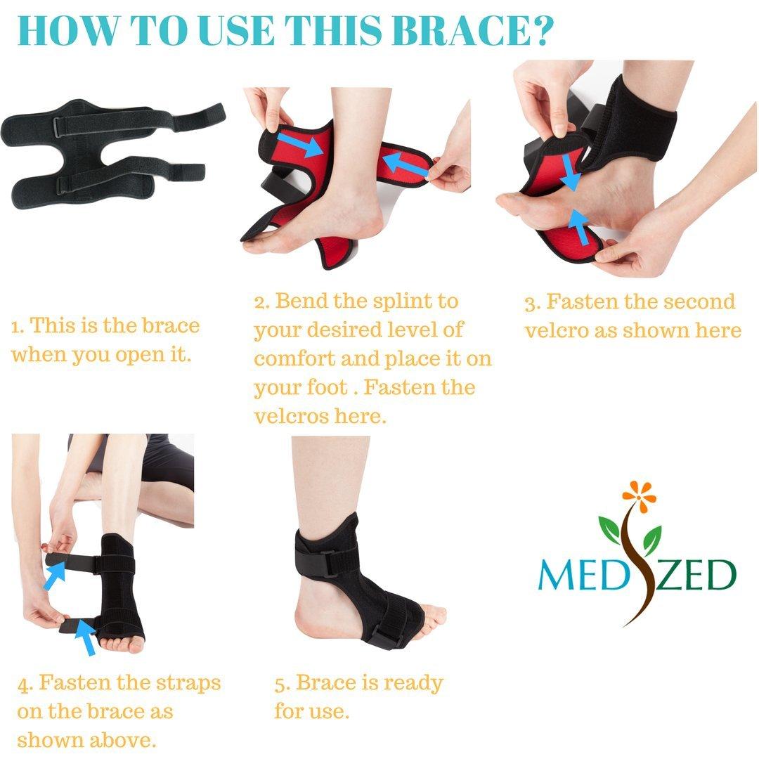 Medized - Fascitis plantar en la parte posterior de la noche, tobillo de caída para fascitis plantar en el pie de la noche con lesiones ortopédicas de ...