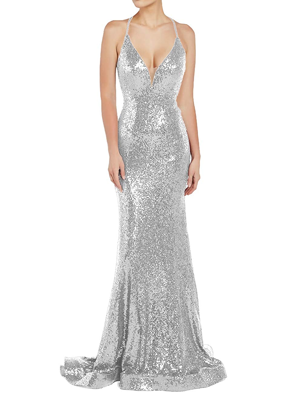 Silver Uther Sequin Evening Prom Dresses Long VNeck Spaghetti Straps Wedding Guest Dress