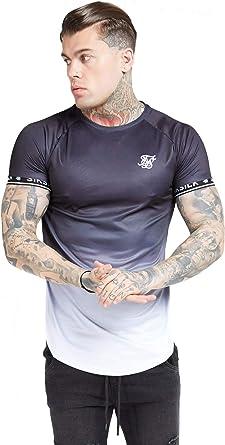 Sik Silk de los Hombres Camiseta técnica con Dobladillo Curvo raglán, Negro