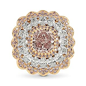 3.83Cts Pink Diamond Extraordinary Ring Set in Platinum GIA Certificate Size 6