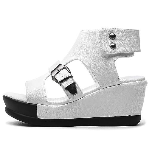 XTIAN - Scarpe con plateau Donna , bianco (bianco), 34