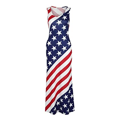 1f0648be9 WuyiMC Hot Sale Hot Sale! Women Sleeveless 4Th July Dress USA American Flag  Long Dress
