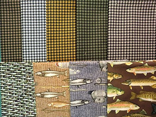 Catch of the Day by Kanvas Bernatex 100/% Cotton Quilt Fishing Houndstooth Fabric 9 Fat Quarters North by Northwest
