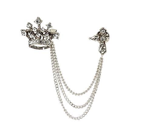 Amazon com: Knighthood Men's Crown Tassel Chain Brooch Lapel Pin for