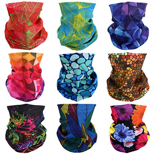 Colorful Magic - GraceMe Headwear Bandana Multifunction Magic Motorcycle Outdoor Sport Seamless Colorful Skull Tube Half Face Mask Wrap Neck Cove Headband Scarf 9PCS