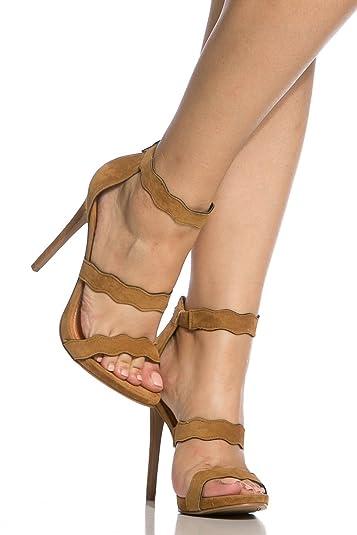 2c7a7c6c424 Amazon.com | Shoe Republic LA Tracy Womens Wavy Dress Heels Sandals ...