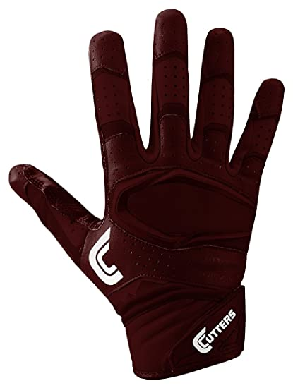 Cutters Gloves Rev Pro 2 0 Receiver Football Gloves, Solid Maroon, Small