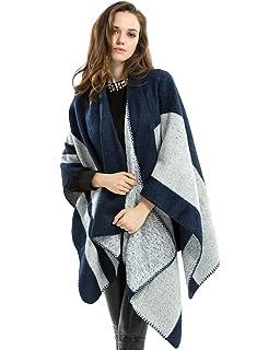 11ce4e11c2d0 ZKOO Poncho Châle Femmes Oversized Stripes Echarpe Epaisse Cachemire Blanket  Manteau Cape Chaud Automne Hiver