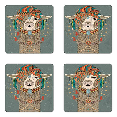 - Ambesonne Llama Coaster Set of Four, Colorful Headwear Wearing Llama with Accessories Earrings Necklace Abstract Animal, Square Hardboard Gloss Coasters for Drinks, Multicolor