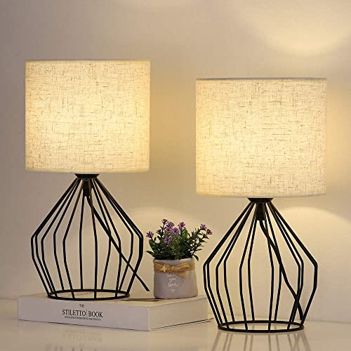 Black Hollowed Out Base Modern Lamp Bedside Table Lamp Set of 2 Geometric Desk Lamp with White Fabric Shade for Living Room Bedroom Guestroom