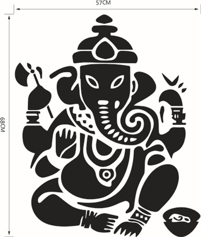Bibitime elephant stickers ganesha wall decor stickers buddha wall art stickers mandala wall decal sticker ganapati wall decor for yoga room bedroom