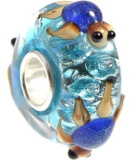 blue turtles on aqua 3d glass bead 925 silver single core charm fits european