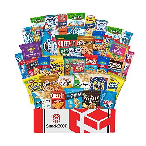 Care Package Snacks for College Students, Finals, Office, Father's Day, Deployment, Military and Gift Ideas - Including Over 3 lbs of Chips, Cookies and Candy! (40 Count)]()