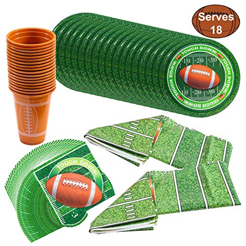JOYIN Football Themed Touchdown Party Supplies, Game Day Pack Serves 18-18 Football Themed Cups, 18 Plates, 36 Napkins and 2 Table -
