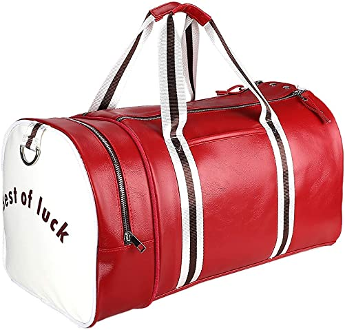 Sports Gym Duffel Bag with Shoe Compartment, PU leather Water Resistant Sports Gym Travel Weekender Luggage Garment Bag with Shoulder Strap for Men and Women