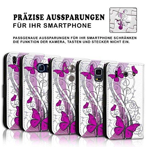 Wallet Book Style Flip Handy Tasche Case Schutz Hülle Schale Motiv Etui für Apple iPhone 5 / 5S - Design Flip MVD438