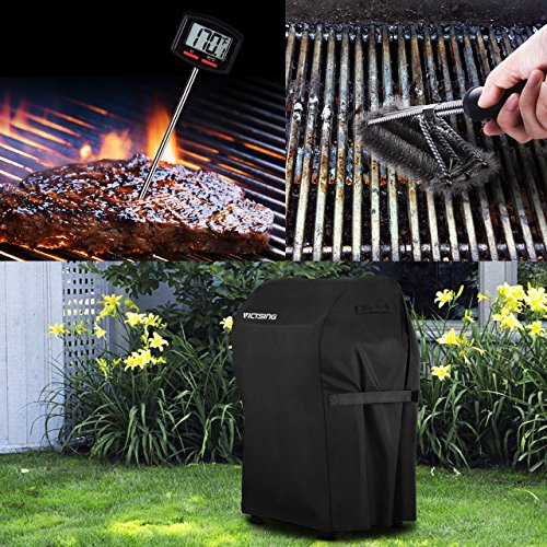 VicTsing Gas Grill Cover Kit, 30-Inch Waterproof BBQ Grill Cover with Stainless Steel Brush and Cooking Thermometer for Spirit Series Gas Grill