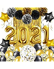 MOVINPE Graduation Decoration Balloon 2021, XXL 2021 Foil Balloon, Star Confetti Balloon, Spiral Ribbon, Fringe Curtain, Pom Poms Flower, With Black Gold, For School Graduation Event Party