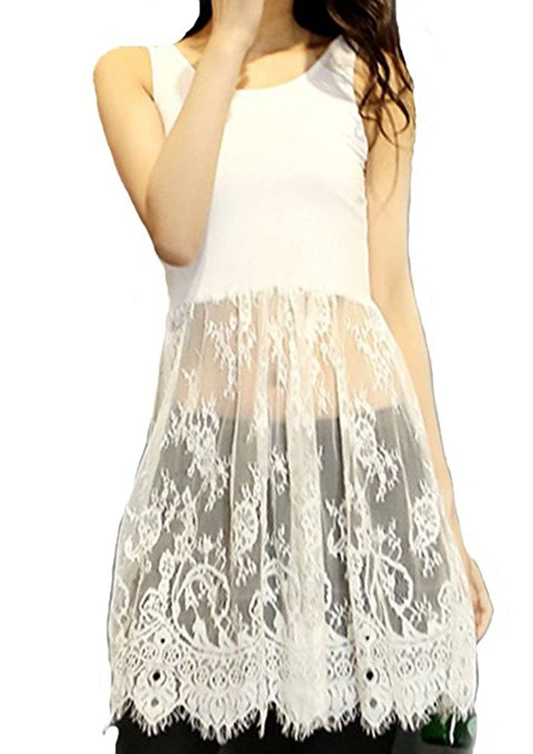 e5bfb7ade6a23c It s long enough that you can wear it as a top or dress extender. Elegant  see through lace trim tank top dress for casual wear